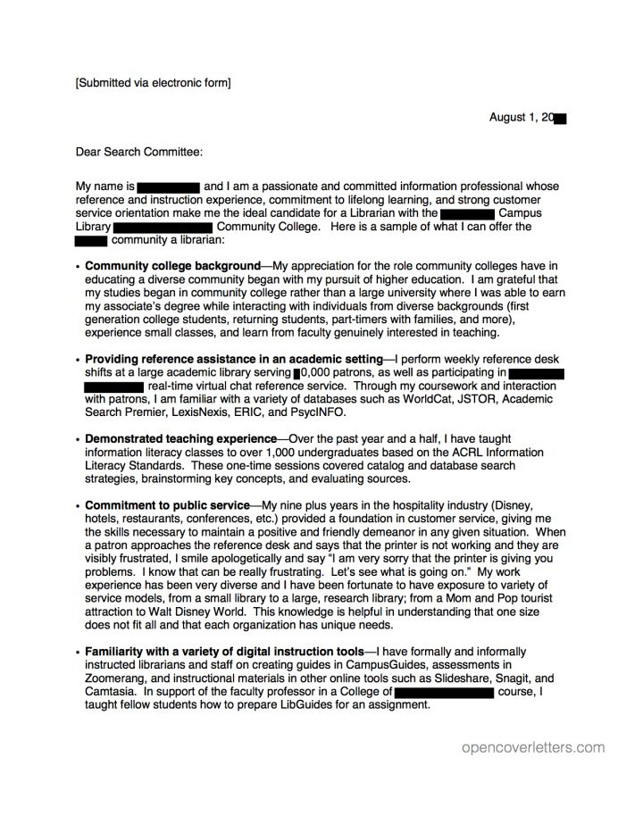 Cover Letter For Community College Teaching Position Sample ...