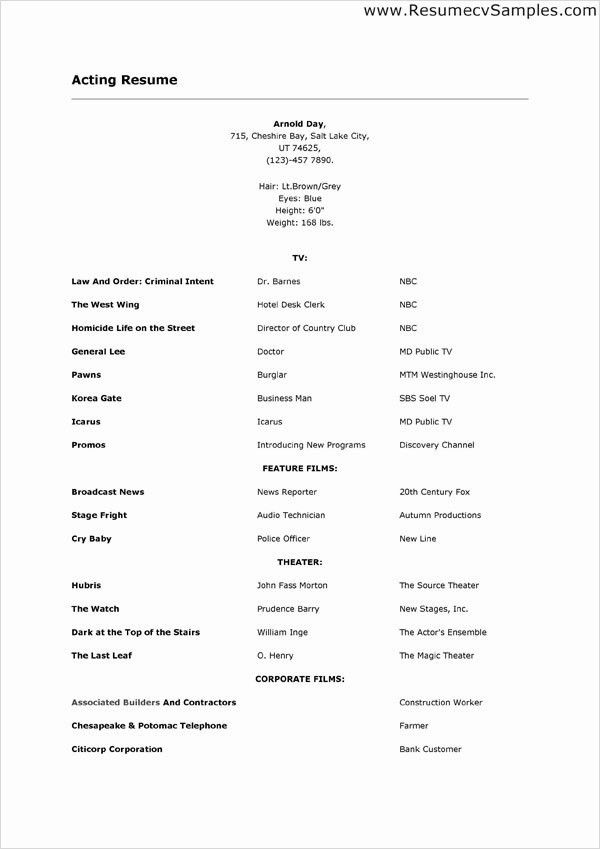sample of acting resume best 25 acting resume template ideas on