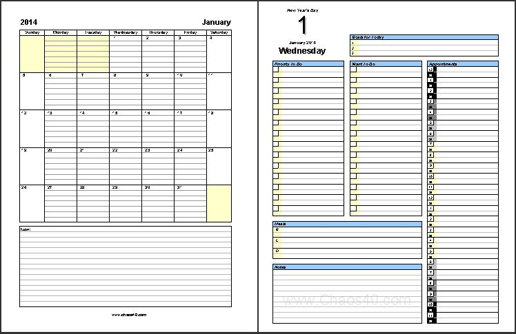 January 2014 Free Daily Planner Pages - Free Download - Chaos40.com