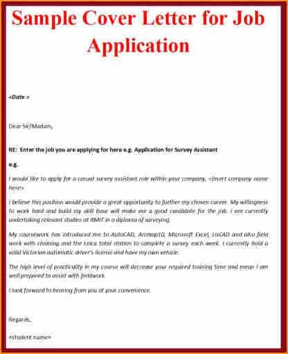 8+ cover letter sample for job application - Basic Job Appication ...