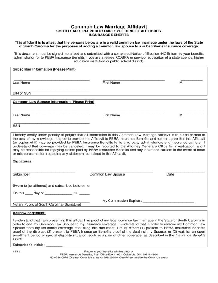 Affidavit of Common Law Marriage Form - South Carolina Free Download
