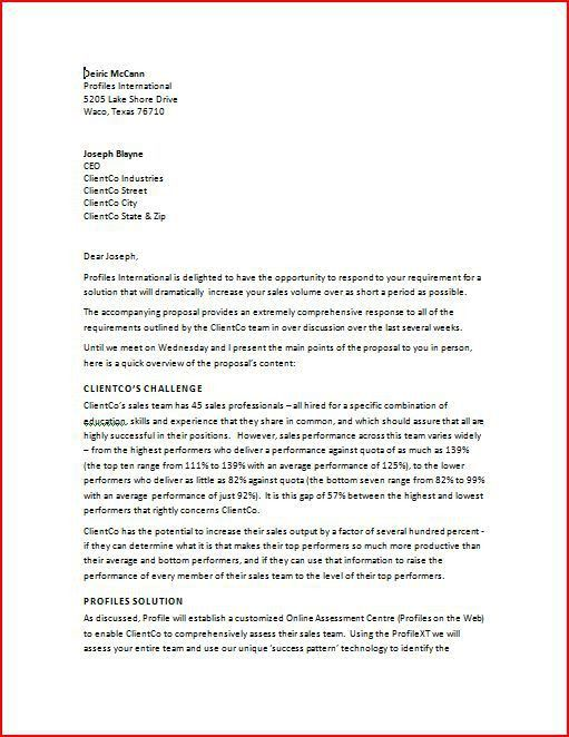 Sample Professional Business Letter. Sample Professional Business ...