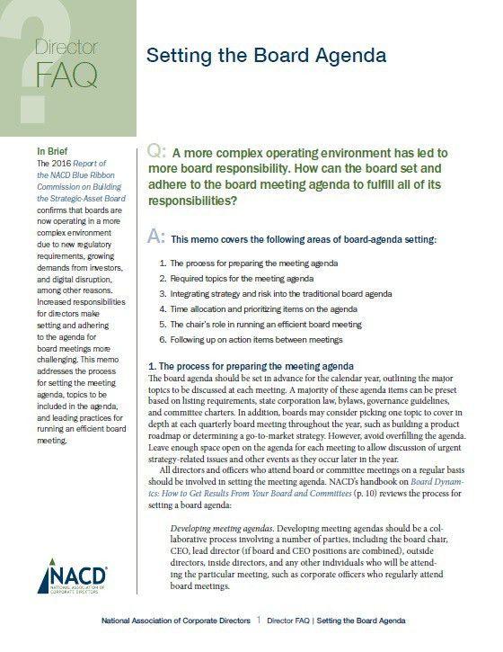 Director FAQ: Setting the Board Agenda | NACD Research