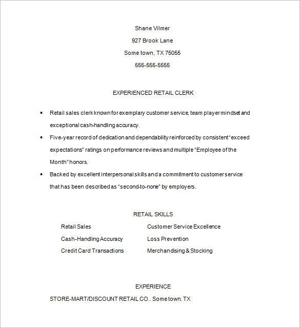 sample of retail resume unforgettable customer service