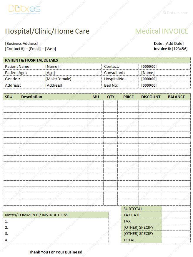 Medical Bills Format (Word) - Dotxes