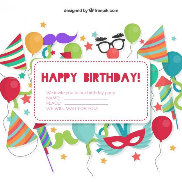 Birthday invitation card Vector | Free Download