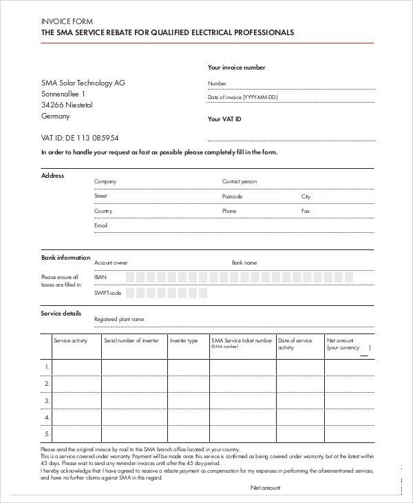 4+ Electrical Invoice Templates - Free Sample, Example Format ...