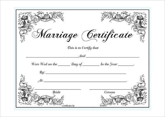 blank marriage certificate template for Microsoft Word ...