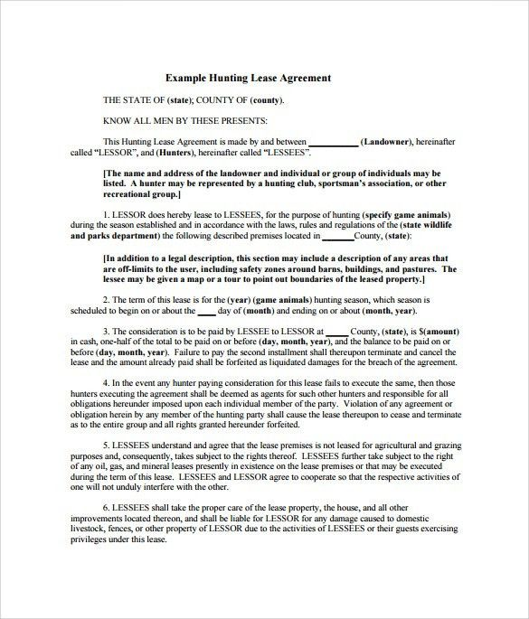 Sample Hunting Lease Agreement - 9+ Documents in PDF, Word