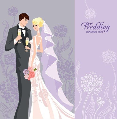 Set of Wedding Invitation cards elements vector graphics 04 ...