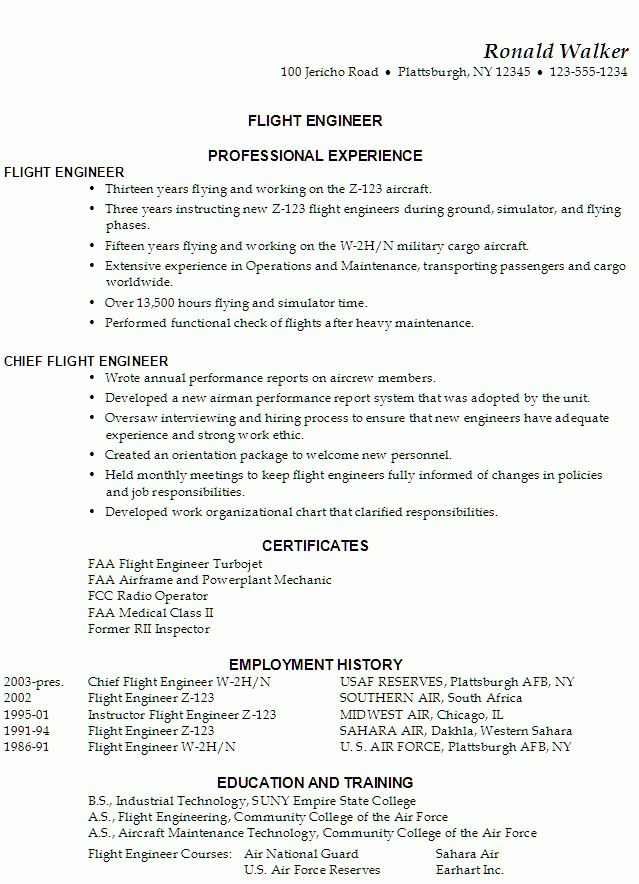 Functional Resume for a Flight Engineer - Susan Ireland Resumes
