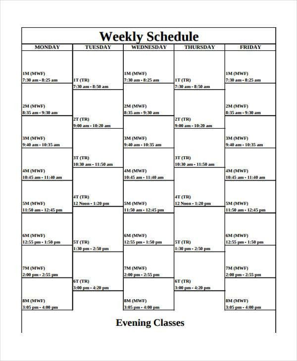 9+ Weekly School Schedule Templates - Sample, Example | Free ...
