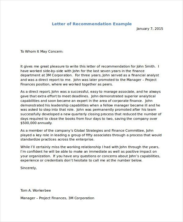 Reference Letter Example. Immigration Reference Letter Templates ...