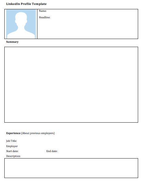 Blank LinkedIn Profile Template (ESL)