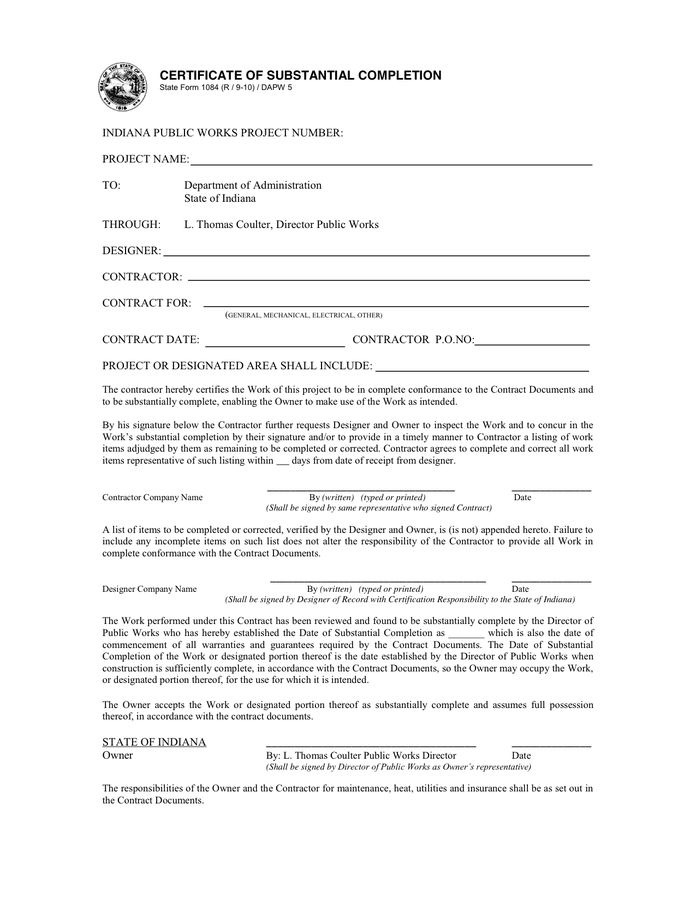 Certificate of substantial completion in Word and Pdf formats