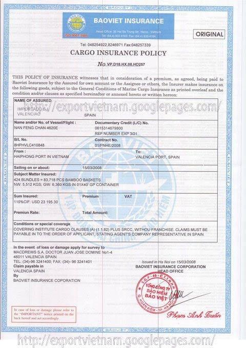 Cargo Insurance Certificate - Vietnam Import and Export