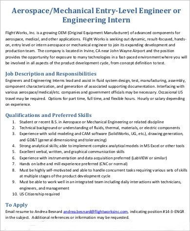 Aerospace Engineer Job Description Sample   8+ Examples In Word, PDF
