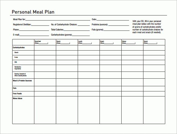 Meal Plan Template Word - Business Plan Template