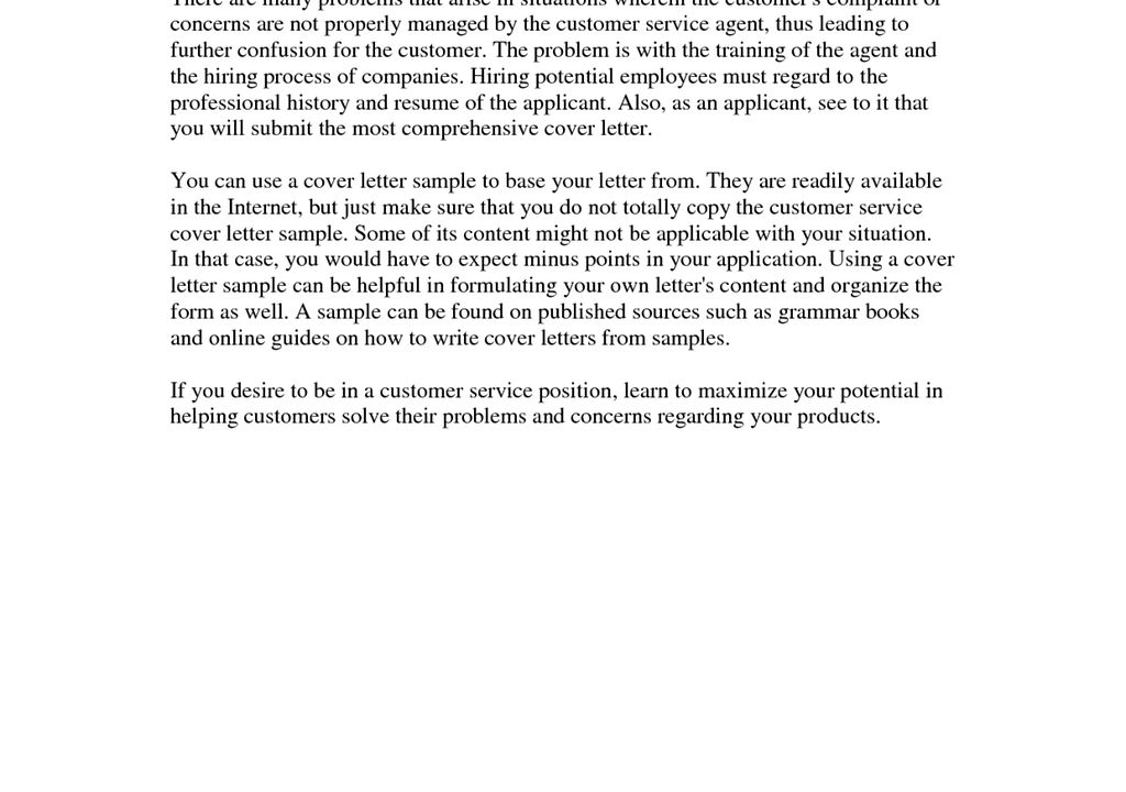 Free Cover Letter For A Customer Service Position Fetching ...