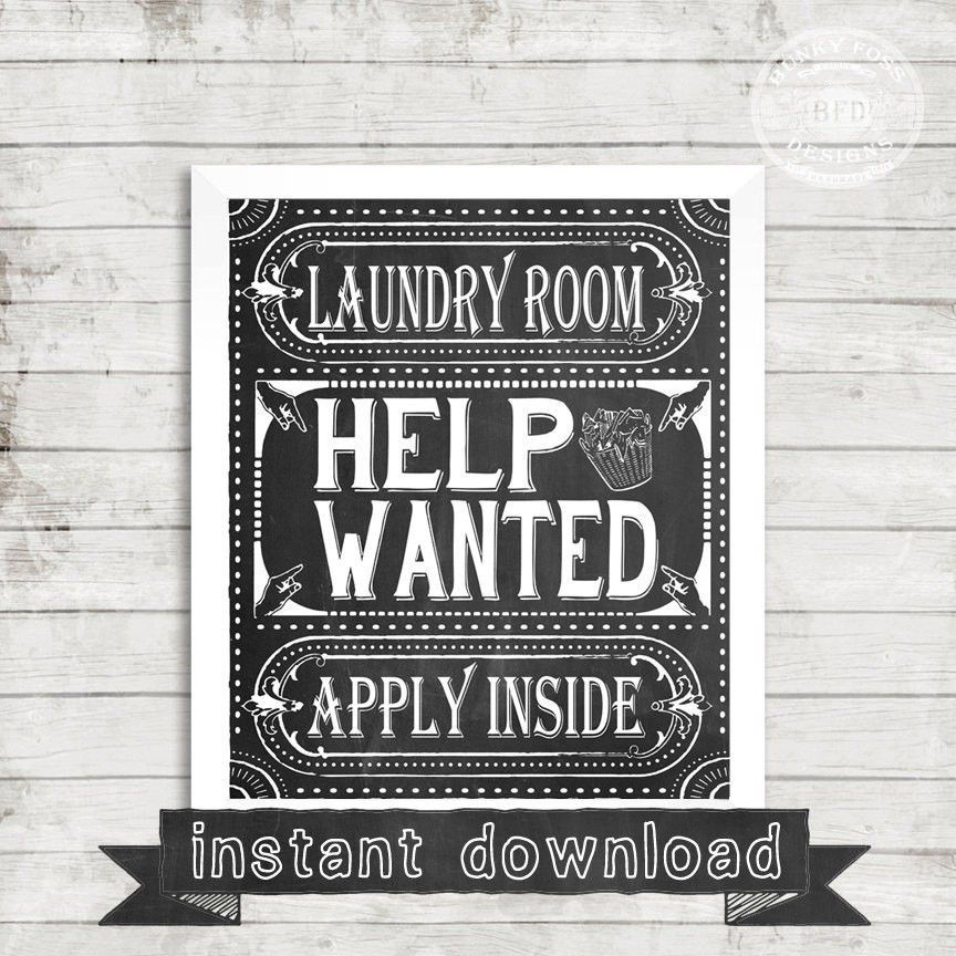 LAUNDRY PRINTABLE Laundry Room Help Wanted Funny Laundry