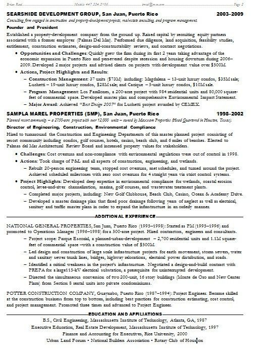 Resume Samples Project Management PMP Construction -