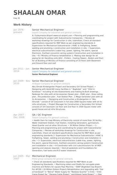 Senior Mechanical Engineer Resume samples - VisualCV resume ...