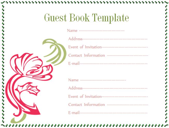 Guest book Template - Microsoft Word Templates