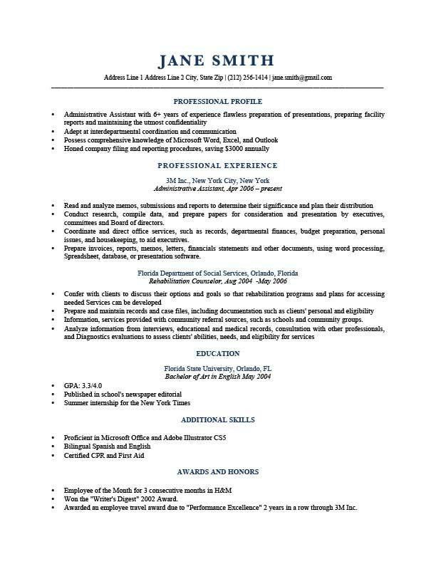 Profile Resume Examples   berathen.Com