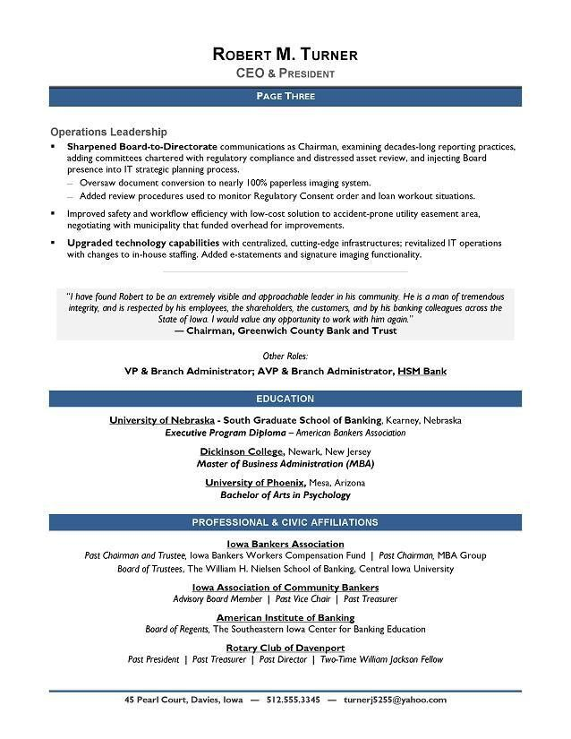 Award-Winning CEO Sample Resume - CEO Resume Writer - Executive ...
