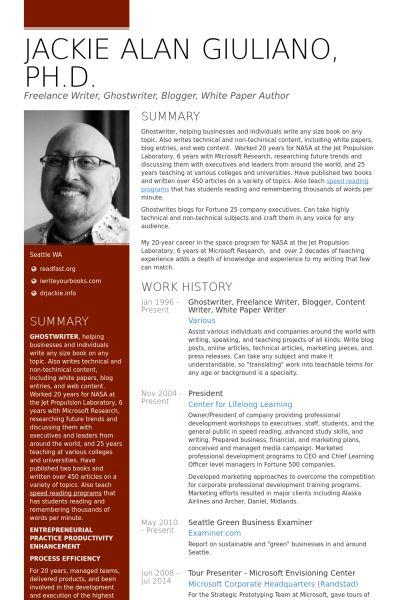 Freelance Writer Resume Samples - VisualCV Resume Samples Database