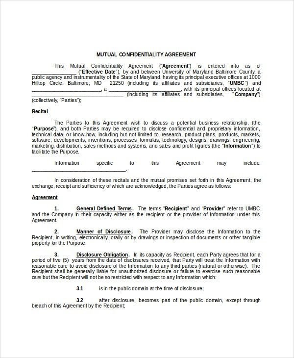Mutual Confidentiality Agreement – 5+ Free Word, PDF Documents ...