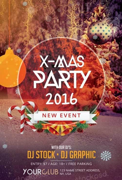 X-Mas Party Free PSD Flyer Template - http://freepsdflyer.com/x ...