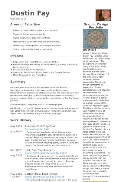 Prep Cook Resume samples - VisualCV resume samples database