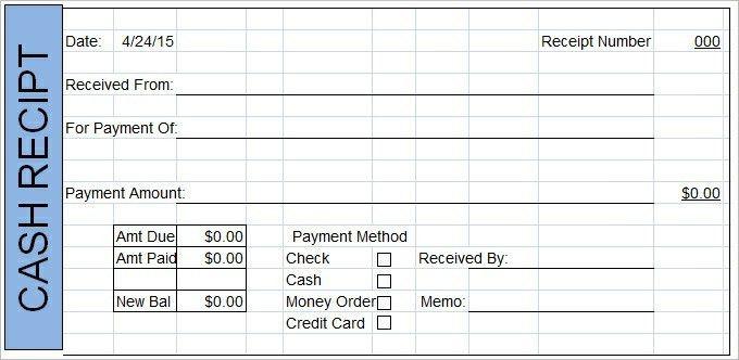 Sample Cash Receipt Template   TemplateZet