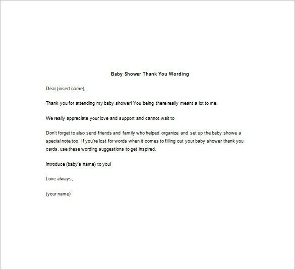 Baby Shower Thank You Note – 8+ Free Word, Excel, PDF format ...