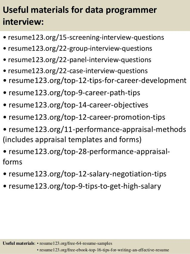 Top 8 data programmer resume samples