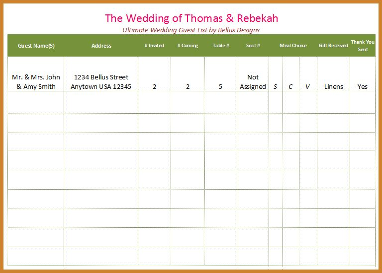 wedding guest list template | notary letter