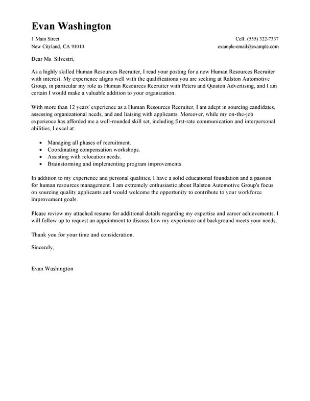 28+ Sample Cover Letter For Recruiter Job | Recruiter Cover Letter ...