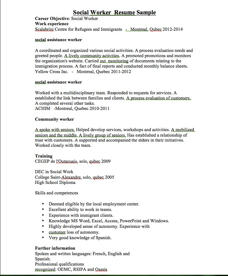 social worker resume sample - RESUMEDOC