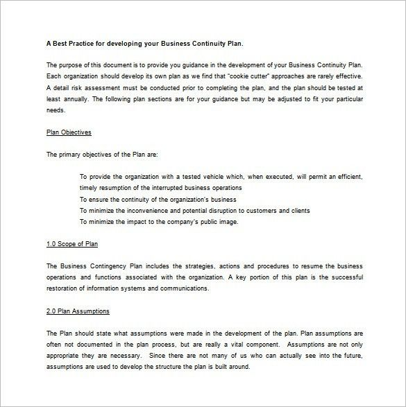 Contingency Plan Template – 9+ Free Word, PDF Documents Download ...