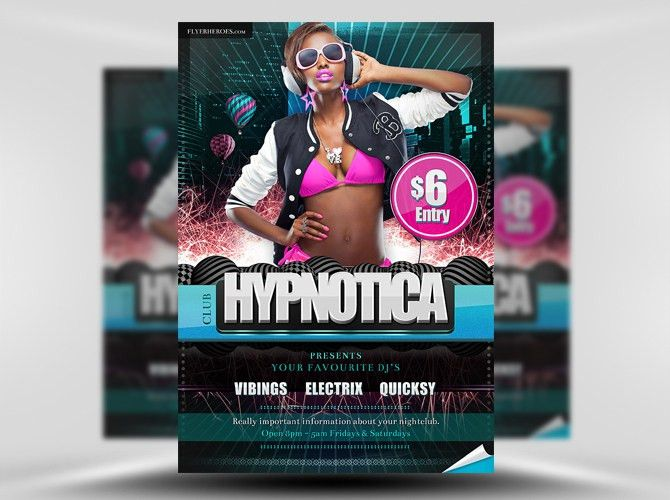 Hypnotica Free PSD Party Club Flyer Template - FlyerHeroes