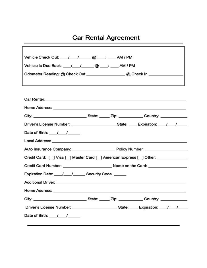 Sample Form for Car Rental and Lease Free Download