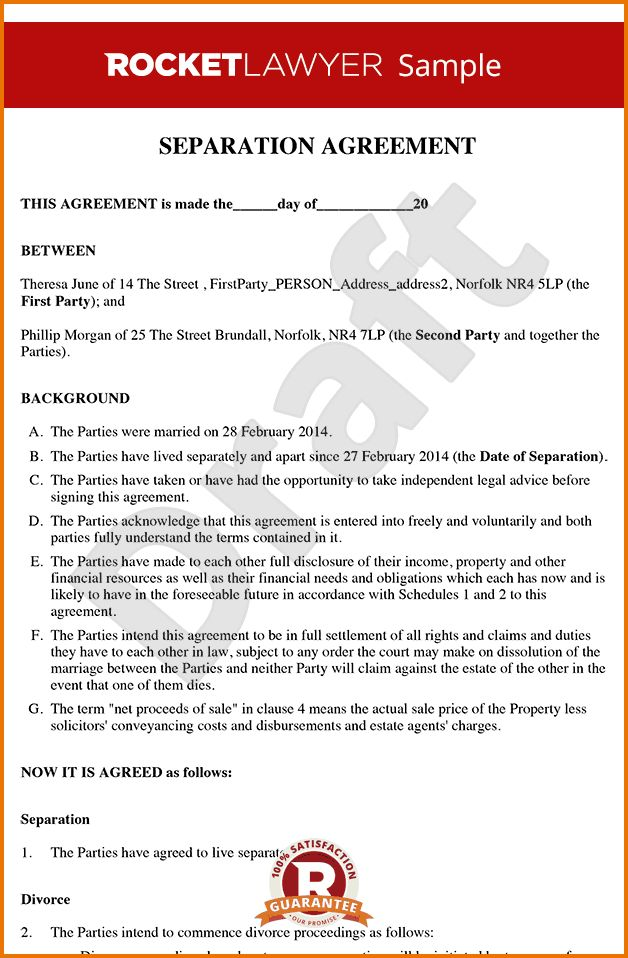 divorce agreement template | Divorce Document