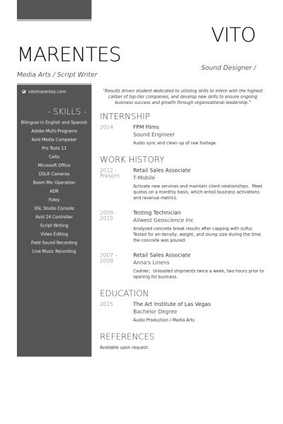 Retail Sales Resume samples - VisualCV resume samples database