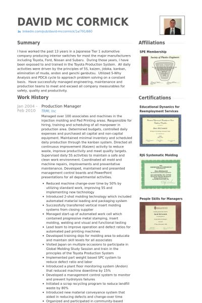 Production Manager Resume samples - VisualCV resume samples database