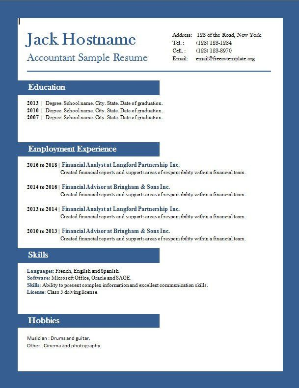 Accounting Resume Example – Free CV Template dot Org