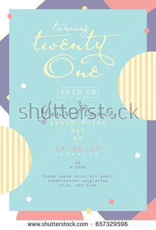 Birthday Invitation Card Design Card Template Stock Vector ...