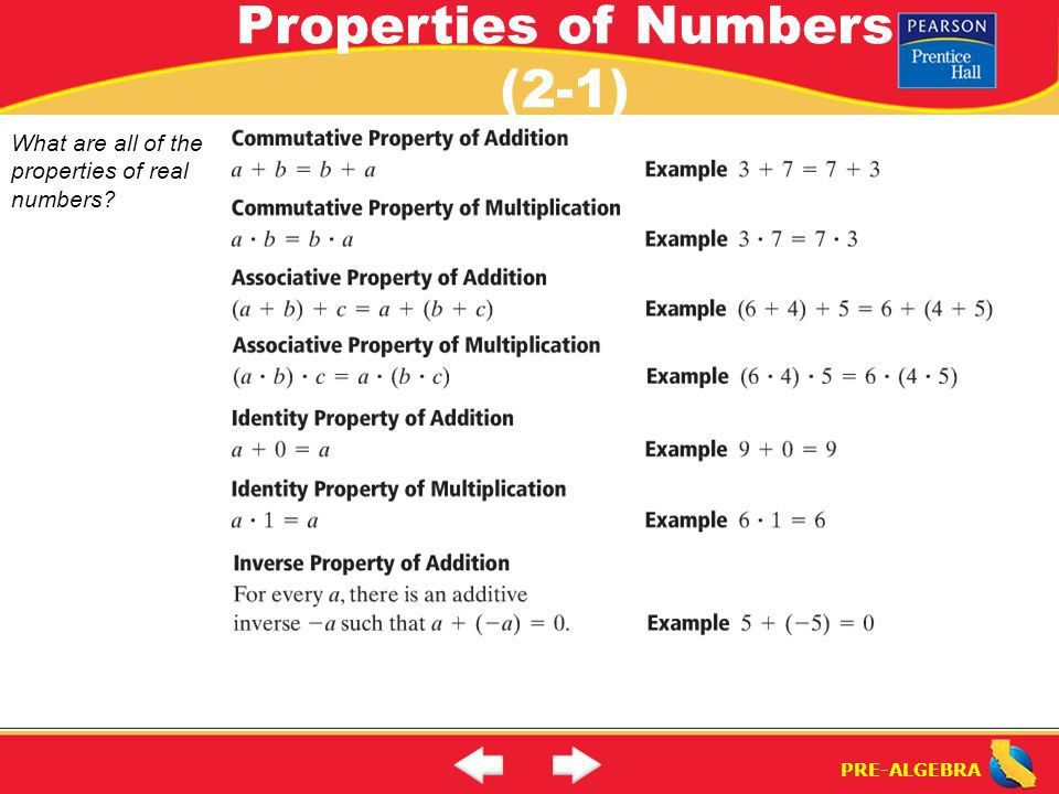 Lesson 2-1 Warm-Up. Lesson 2-1 Warm-Up Properties of Numbers (2-1 ...