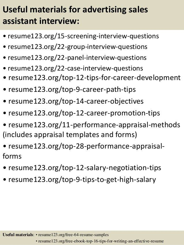 Top 8 advertising sales assistant resume samples