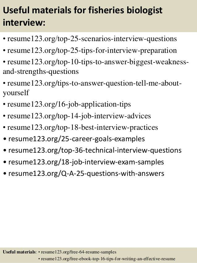 Top 8 fisheries biologist resume samples